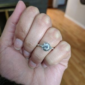 1.4 ct Gray Moissanite Silver Engagement Ring